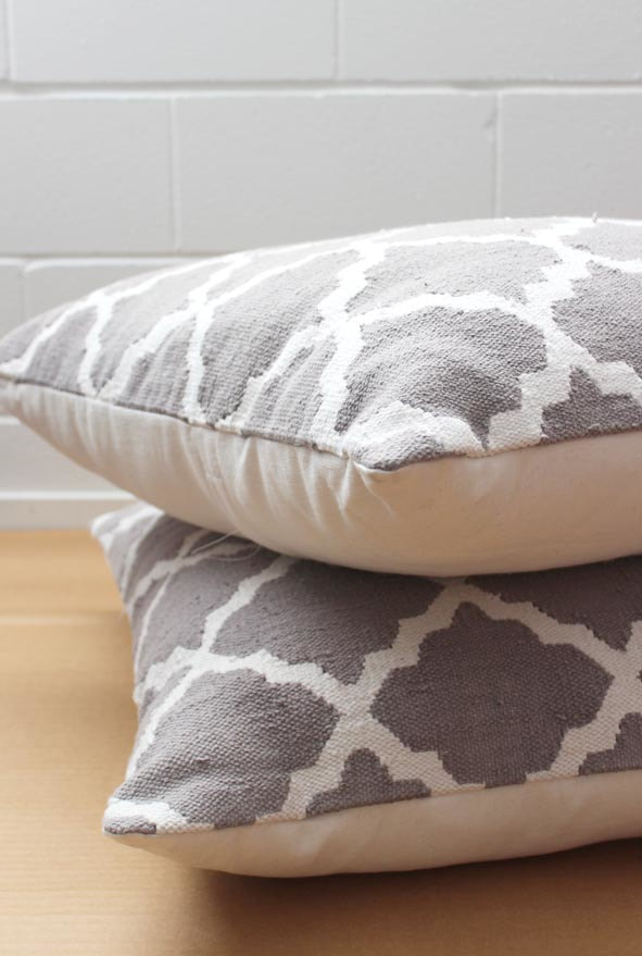 Grey And White Floor Cushions Pair